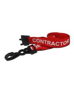 AC222-CR-RD - Breakaway lanyard - 15mm wide - CONTRACTOR - Various Colours-Red