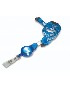 AC222-NHS-LY - 15mm wide NHS printed lanyard with integrated NHS branded retractable yoyo reel.