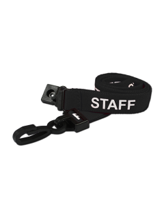 AC222-SF-BK - Breakaway lanyard - 15mm wide - STAFF - Various Colours-Black
