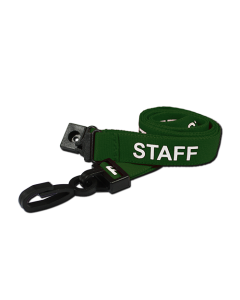 AC222-SF-GR - Breakaway lanyard - 15mm wide - STAFF - Various Colours-Green