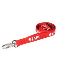 AC222-SF-RD-MLC - Breakaway lanyard,15mm STAFF - Various Colours - metal lobster clip-Red