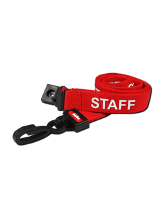 AC222-SF-RD - Breakaway lanyard - 15mm wide - STAFF - Various Colours-Red