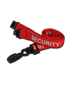 AC222-SY-RD - Breakaway lanyard - 15mm wide - SECURITY - Various Colours-Red