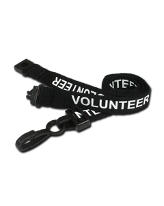 AC222-VO-BK - Breakaway lanyard - 15mm wide - VOLUNTEER - Various Colours-Black
